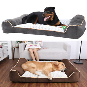 6-Layer Structure Orthopedic Extra Large XXL Dog Bed Cushion Thick Bolstered End