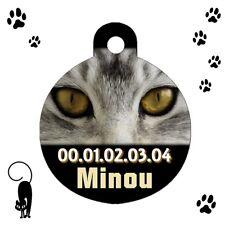 Médaille ronde chat tigré personnalisée avec nom et n°de téléphone