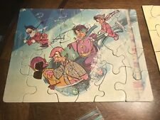 Antique Childrens Puzzle , Classical Early Elves Gnomes Faeries Playing In Snow