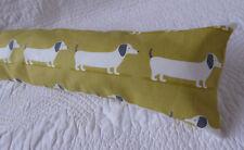 Draught Excluder Handmade Cotton Fabric Dachshund Sausage Dog Mustard Yellow