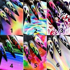 6PCS Holographic Colorful Nail Foil Flame Holo Nail Art Transfer Self Adhesive~~