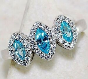 3CT Aquamarine & Topaz 925 Sterling Silver Ring Jewelry Sz 7, M4