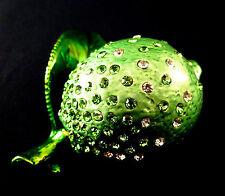 Enamel cloisonne jewelry box green lime w/ Swarovsky hand made Free shipping