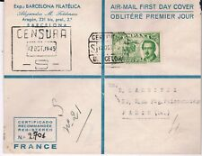 1945. Barcelona a Paris. Sobre circulado con sello del Conde San Luis
