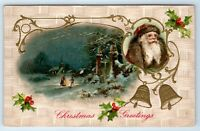Vintage Postcard Christmas Greetings Santa Claus Scenic Bells Holly 1909