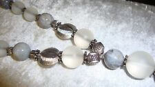 AGATE AND WHITE QUARTZ STERLING SILVER NECKLACE