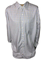 Peter Millar Mens Blue Plaid Button Front Dress Long Sleeve Shirt Large Tall