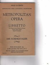 Metropolitan Opera House Grand Opera Program Libretto der rosaenkavalier