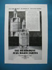 PUBLICITE DE PRESSE ROGER ET GALLET EAU DE COLOGNE JEAN MARIE FARINA PARFUM 1928