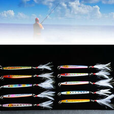 1pcs Lead Iron Sea Baits Random Color Jigs Laser Metal Fishing Lures Hook
