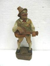 """Ancienne statuette en bois """" Saltimbanque à la guitare """""""