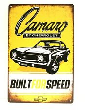 Chevrolet Camaro Tin Metal Sign Vintage Style Advertisement Garage Muscle Car