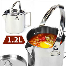 1.2L Stainless Steel Camping Kettle Outdoors Hanging Tea Pot Picnic Cookware