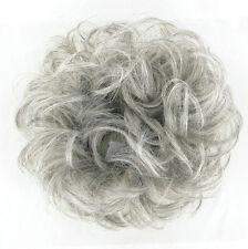 extension bollo en el cabello coletero rizado gris 17/51