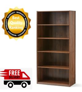 "Wood 5 Shelf Bookcase Sturdy Closed Back Storage Shelves Bookshelf Case 71"" Tal"