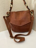 FOSSIL MODERN CARGO COGNAC DISTRESSED LEATHER FLAP HOBO CONVERTIBLE XBODY BAG