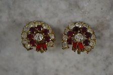 VINTAGE 1950s red and clear diamante garland shape earrings clip-on backs large