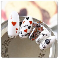 Poker Aces Black & Red Water Transfers Nail Art Stickers Decals UV Decoration