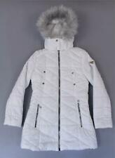 Guess Women's Faux Fur Trim Hood Logo Quilted Puffer Coat LP7 White Size XS