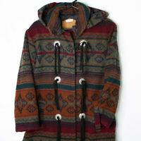 Vintage Woolrich Womens Size M Southwestern Aztec Long Wool Blanket Coat Jacket