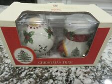 Spode Christmas Tree Figural Salt & Pepper Set Christmas Ball & Stocking NOS