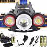 8500Lm Rechargeable Cree XML T6 2R5 3 LED Headlamp Tactical Head Light Torch Set