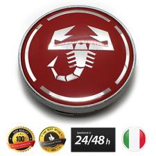 4X COPRIMOZZI ABARTH FIAT 60MM ROSSO SCORPIONE 500 PUNTO BORCHIE TAPPI RED