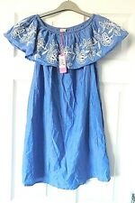 ACCESSORIZE MONSOON Blue White Broderie Anglaise Beach Dress Size UK XS BNWT