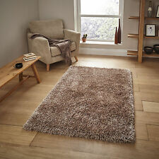 """Small Large Monte Carlo Beige Sparkle Modern Soft 6cm Thin Thick Shaggy Rugs 100x150cm (3'3""""x5')"""