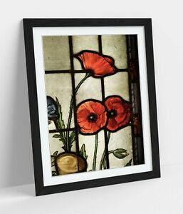 STAINED GLASS POPPIES- ART FRAMED POSTER PICTURE PRINT ARTWORK- RED BEIGE BLACK