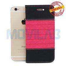 Funda cartera piel tipo libro gel TPU tarjetas Apple Iphone 6 / 6S franja Fucsia