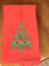 Embroidered Velour Hand Towel - Christmas Tree WReindeer, Hearts & Trees