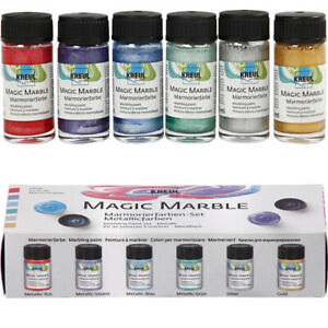 Set of 6 Marbling Inks for Adults Crafts - Metallic Colours
