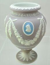 Antique 10 Inch Wedgwood Tricolor Medallion Lavender Jasper Dip Urn Vase c 1875