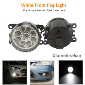 2PCS Full LED Front Bumper Fog Light Clear Lens Lighting LED Fog Lamp Universal