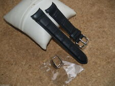 QUALITY 20mm BLACK CROC GRAIN LEATHER WATCH STRAP WITH CURVED ENDS & 2 BUCKLES