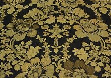"COVINGTON VERLAINE BLACK MARGARITA CUSHING FLORAL LINEN FABRIC BY THE YARD 54""W"