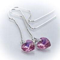 Durchzieher Ohrringe 925 Silber mit SWAROVSKI ELEMENTS Herz Rosè AB