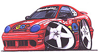 Dodge Neon ACR Racing Red Cartoon T-shirt scca plymouth sport in Sizes S-3XL