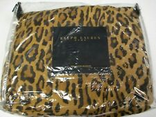 RARE Ralph Lauren ARAGON NEUTRAL LEOPARD Ruffled Bedskirt - Queen