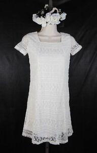 Dress Lace Girls Ivory Cream Fully Lined Slip cross back Soft Size 9/10