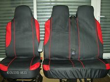 FORD TRANSIT CONNECT 14-ON BLACK & RED TRIM VAN SEAT COVERS SINGLE DOUBLE 2+1