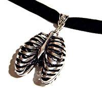 BLACK VELVET SILVER RIBCAGE CHOKER skeleton bones rib cage gothic necklace A4
