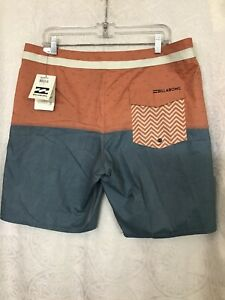 Billabong Shorts Burnt Orange And Gray Nwt Size 36