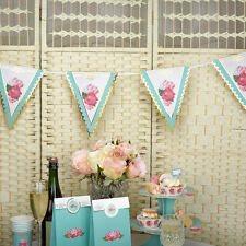 Vintage Style Party Bunting Tea Party Shabby Chic Rose Party Garland Turquoise