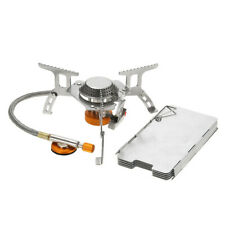 Lixada Foldable Backpacking Gas Stove with 9-Plate Camp Stove Windscreen D7E9