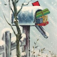 Vintage Mid Century Christmas Greeting Card Birds Mailbox Filled With Gifts