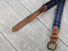 vintage TRAFALGAR plaid canvas 36 belt leather