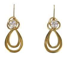 Earring set 4 piece Gold Loop Jackets CZ  Posts Gold  Dangles and Convertiblezs