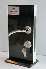 External Internal Wooden Door Handle Brushed Steel Chrome Effect 5 Keys M106